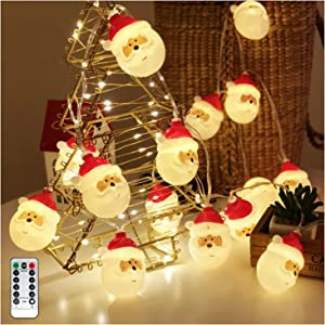 Christmas String Lights, Waterproof Battery Operated LED Christmas Lights for Xmas Tree Indoor Outdoor Holiday Decorations with 8 Flashing Modes, Christmas Ornaments Décor (Santa Claus, 10ft 20 LEDs)