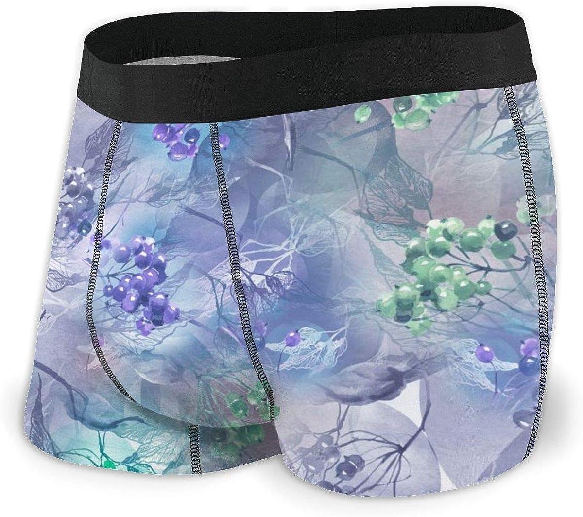 Mens Boxer Briefs Abstract Blue Splash Birch Berries Breathable Underwear