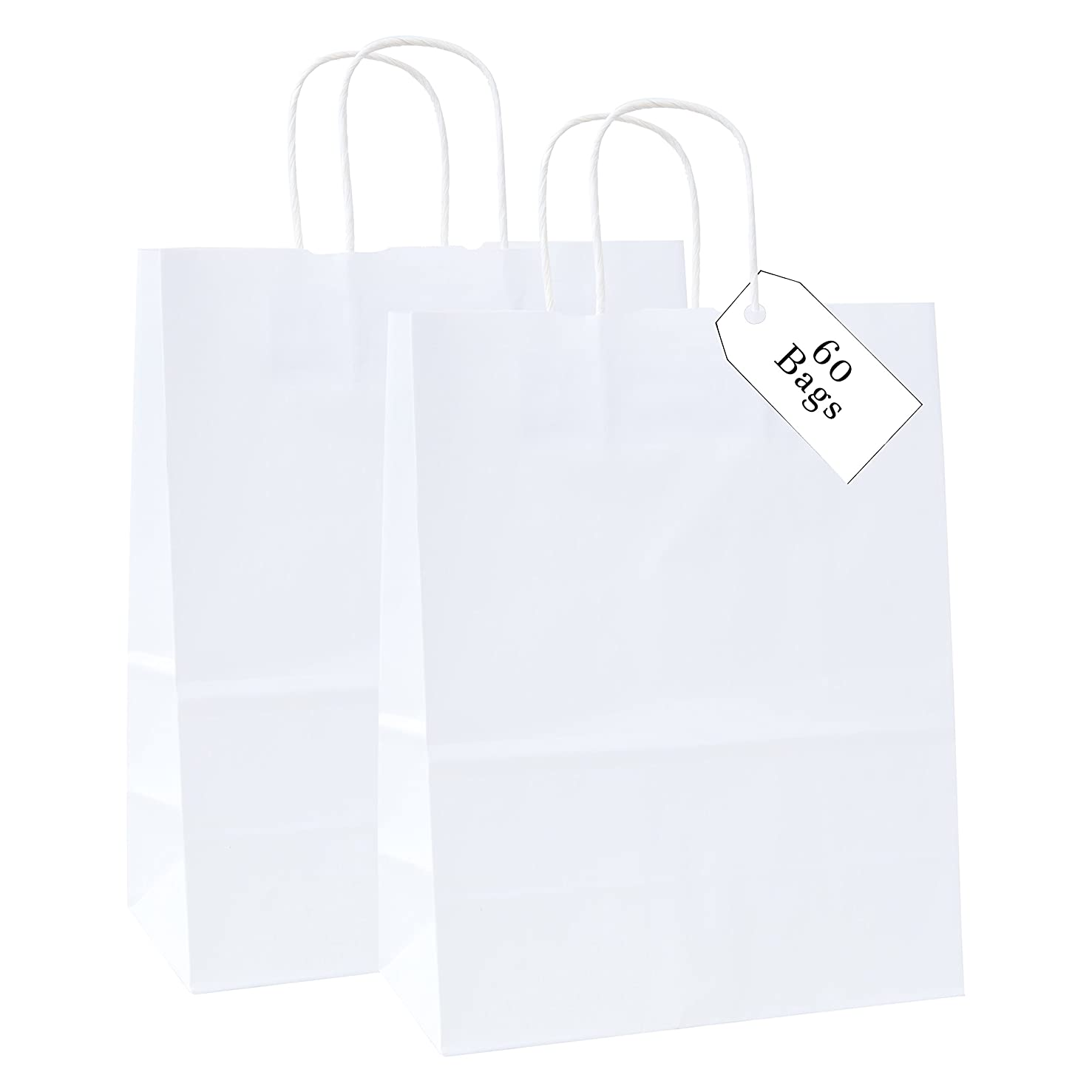 100% Recycled Medium Kraft Paper Bag with Handles for Shopping, Lunch, Retail and Merchandise. Strong and Reusable- Incredible Packaging -10W x 5G x 13H - 80 Paper Thickness (60, White)