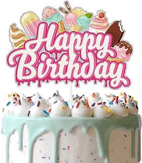 Ice-Cream Happy Birthday Cake Topper, Ice Cream and Popsicle Cake Decor, Summer Birthday Party Supplies, Summer Ice Cream ...