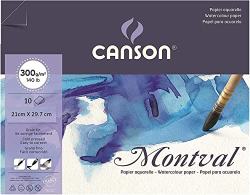 Canson Montval Watercolor Paper 300 GSM 21 cm x 29.7 cm (Size A4) 10 Sheet Packet
