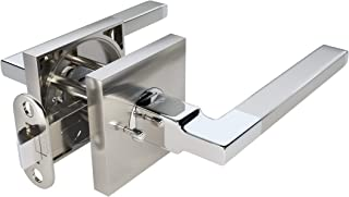 TITANTON 1703 - Modern Door Handle Door Lever Set in Satin Nickel - Polished Chrome Finish with Privacy Pin Function