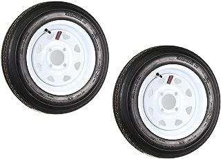 2-Pack eCustomrim Trailer Tire On Rim 4.80-12 12 in. Load C 4 Lug White Spoke