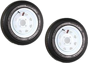 2-Pack Trailer Tire On Rim 4.80-12 12 in. Load C 4 Lug White Spoke Wheel