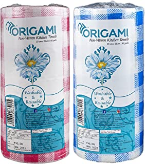 Origami Non-Woven Washable Kitchen Wipes - 2 Rolls - 80 Wipes per roll - Total 160 Wipes