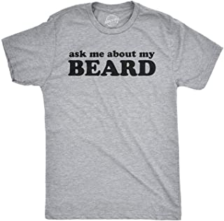 Ask Me About My Beard T Shirt Funny Flip Sarcastic Novelty Costume Idea Gag Cool