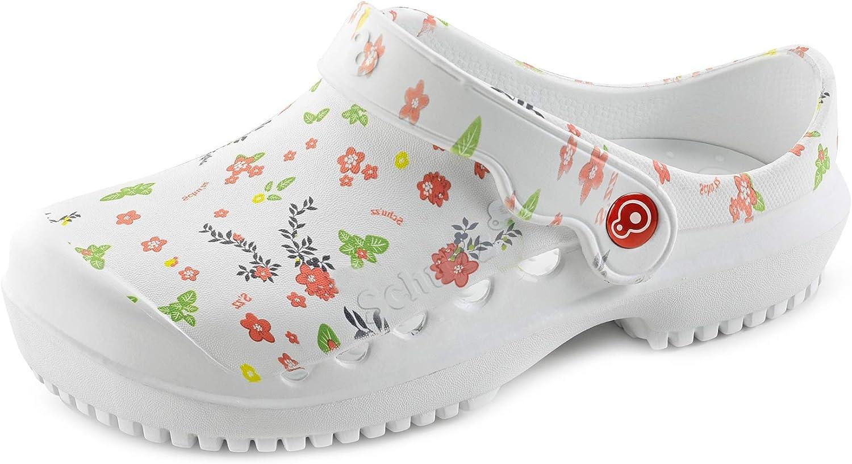 Schu'zz - Protec Printed - Zuecos médicos para Mujer - Zapatos de Hospital - Ligeros, cómodos, Transpirables, Antideslizantes, Suela extraíble