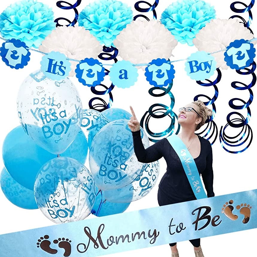 Baby Shower Decorations For Boy - Mommy To Be Sash | IT'S A BOY | Banner Theme | Blue White Clear | Decor Tissue Paper Flower Pom Poms Party Games Table Cloth Favors Balloons