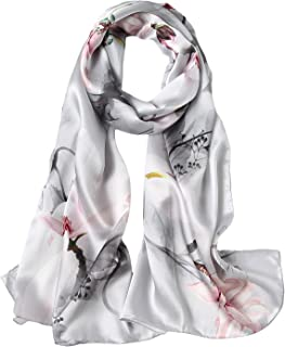Women's 100% Mulberry Silk Scarf Floral Print Satin Long Scarf Wrap Shawl