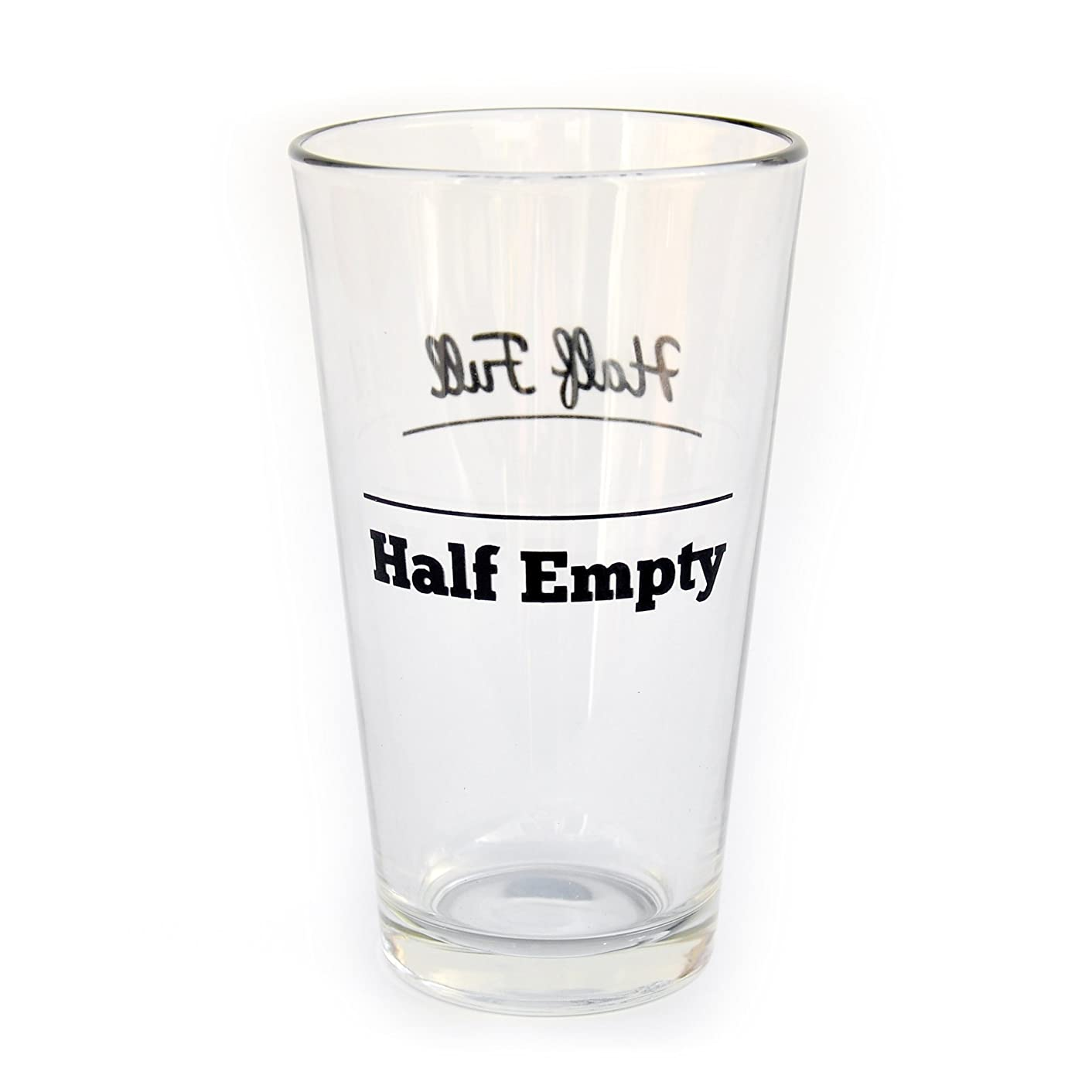 Funny Half Full/Half Empty Double-Sided Decorated Pint Glass