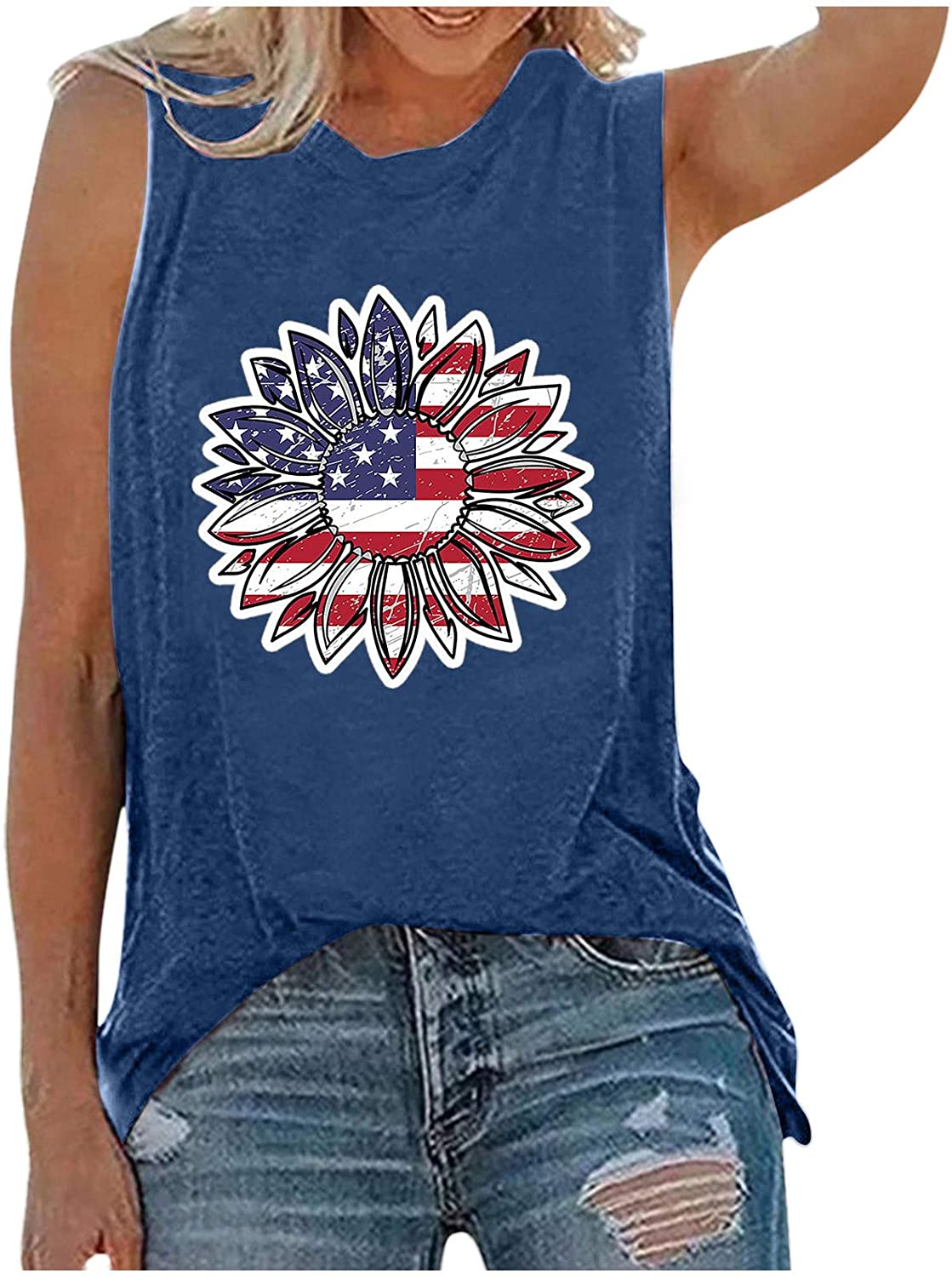 Womens Tank Tops Casual,Womens Summer Tank Tops Sunflower American Flag Patriotic 4th of July Shirts Tops