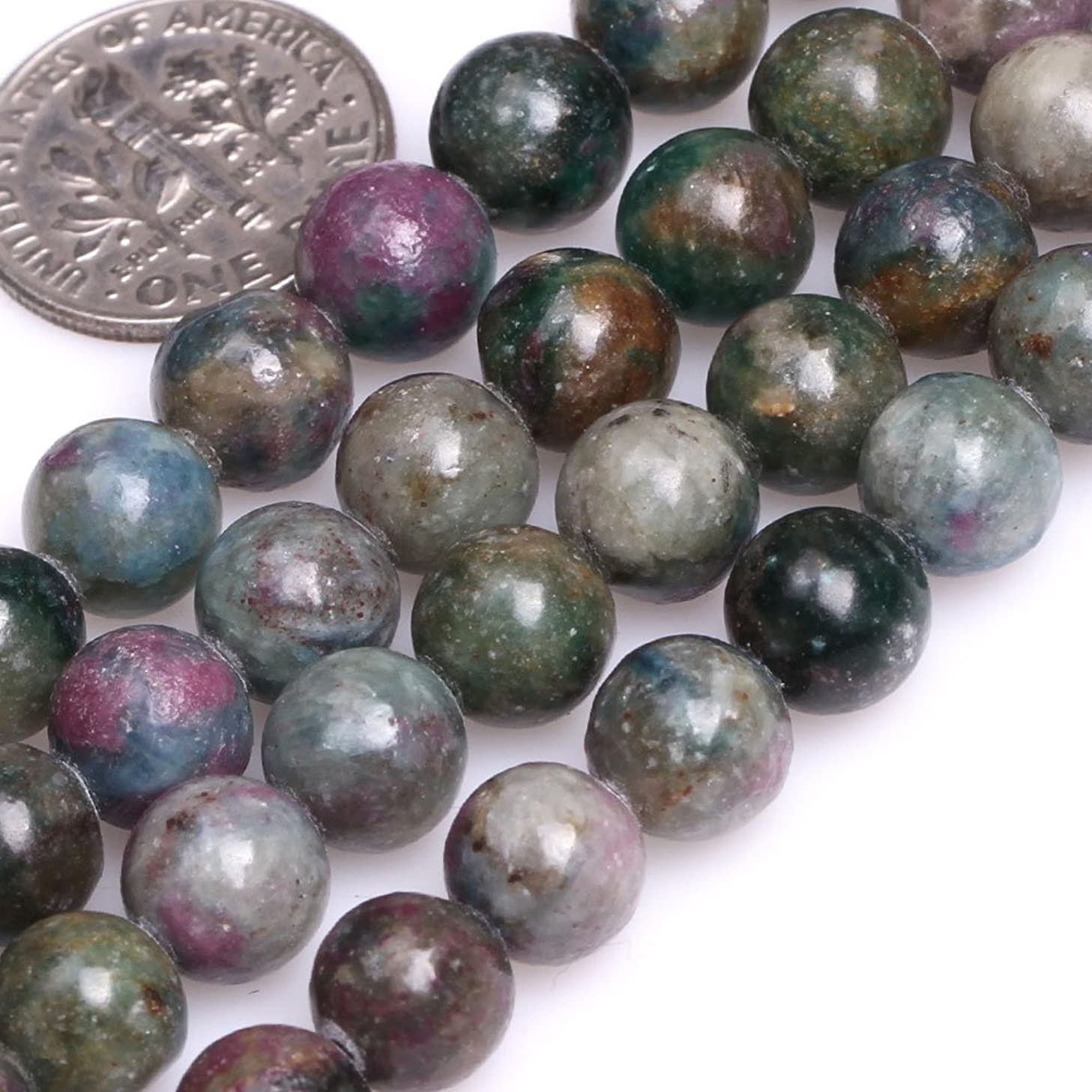 GEM-inside Natural 8mm Round Green Red Brazil Ruby Apatite Beads for Jewelry Making Strand 15