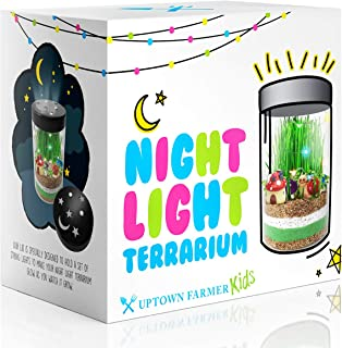 Terrarium Kit for Kids with LED Fairy Lights – Gifts for Girls or Boy 5 6 7 8 9 10 11 12 Year Old - Science Stem Nature Toys That Light Up Grow and Glow