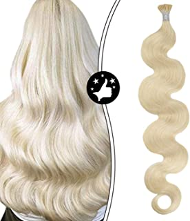 Moresoo 22 Inch I Tip Hair Extensions Human Hair Body Wave Prebonded Keratin Extensions Color Platinum Blonde #60 Fusion Hair Extensions Human Hair 1g/1strands 50g/50strands Per Pack