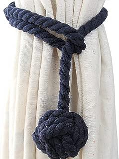 Shinywear 2 Pieces Retro Handmade Curtain Ropes Holdbacks Rural Knot Ball Cotton Cord Drapery Tiebacks Tie Band (Navy blue)