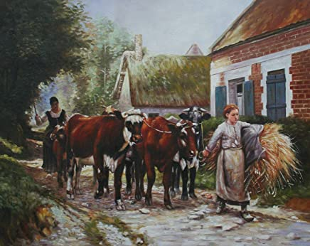 Hand Painted Art Paintings of Returning From The Fields farm life Julien Dupre Oil Painting on Canvas for Wall Art Decor - 53x43cm