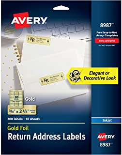 """Avery Gold Address Labels for Inkjet Printers, 3/4"""" x 2-1/4"""", 300 Labels (8987)"""