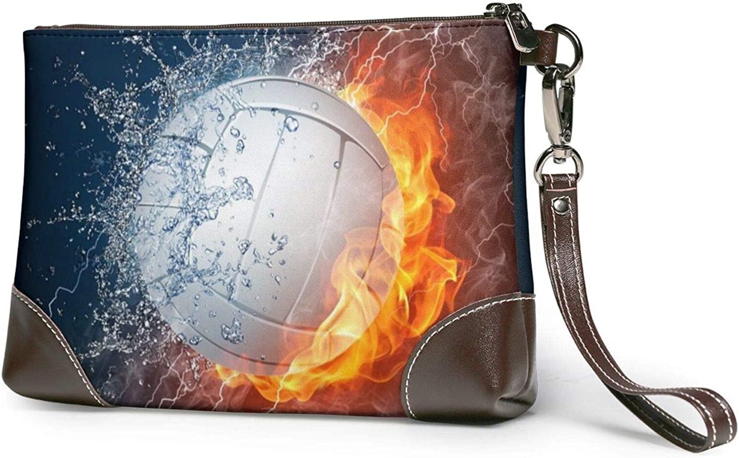 Ice And Fire Volleyball Printed Women'S Wristlet Handbags Purses Wallets Evening Leather Clutch Bags 8in X 5.5in X 1.5in