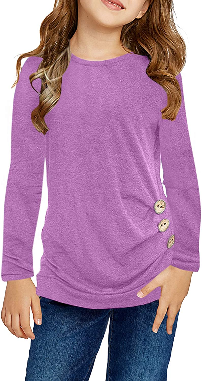 Ugmikdo Girls Casual New products world's highest quality popular Tunic Tops Side Button Kansas City Mall Loose So Sleeve Long