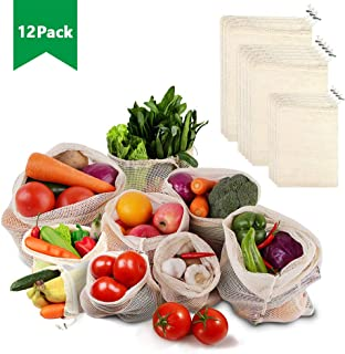 Looch Reusable Mesh Produce Bags - Natural Organic Cotton Produce Bags with Drawstring, Eco-Friendly - Washable Zero Waste Shopping Bags for Grocery Vegetables | 12 Bags (4M, 5L, 3XL)