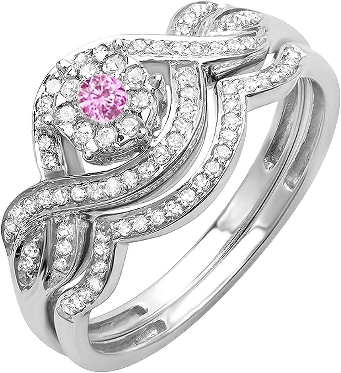 Dazzlingrock Collection 10K Gold Round Pink Sapphire & White Diamond Ladies Engagement Ring Set