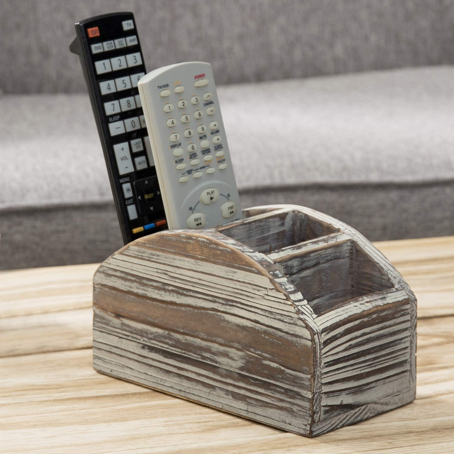 MyGift 4-Slot High order Rustic Torched Wood Control security Caddy Media Remote Dev