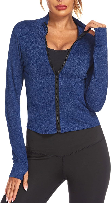 Pinspark Women's Track Jacket Lightweight Full Zip Crop Pockets