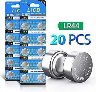 LiCB 20 PCS LR44 AG13 357 303 SR44 A76 Battery 1.5V Button Coin Cell Batteries