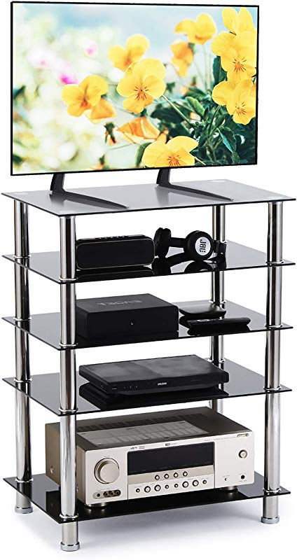 Rfiver 5 Tier Black Glass Audio Video Tower For TV Xbox Gaming Consoles Media Component Streaming Devices HF1002