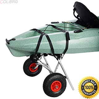 COLIBROX--New Aluminum Kayak Jon Boat Canoe Gear Dolly Cart Trailer Carrier Trolley Wheels. Solid aluminum frame. Large Load capacity. best Gear Dolly Cart sale on amazon. bass pro deer cart
