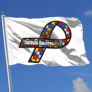 Sisa Autism Awareness Ribbon 3x5 Foot Flag Outdoor Flags 100% Single-Layer Translucent Polyester 3x5 Ft