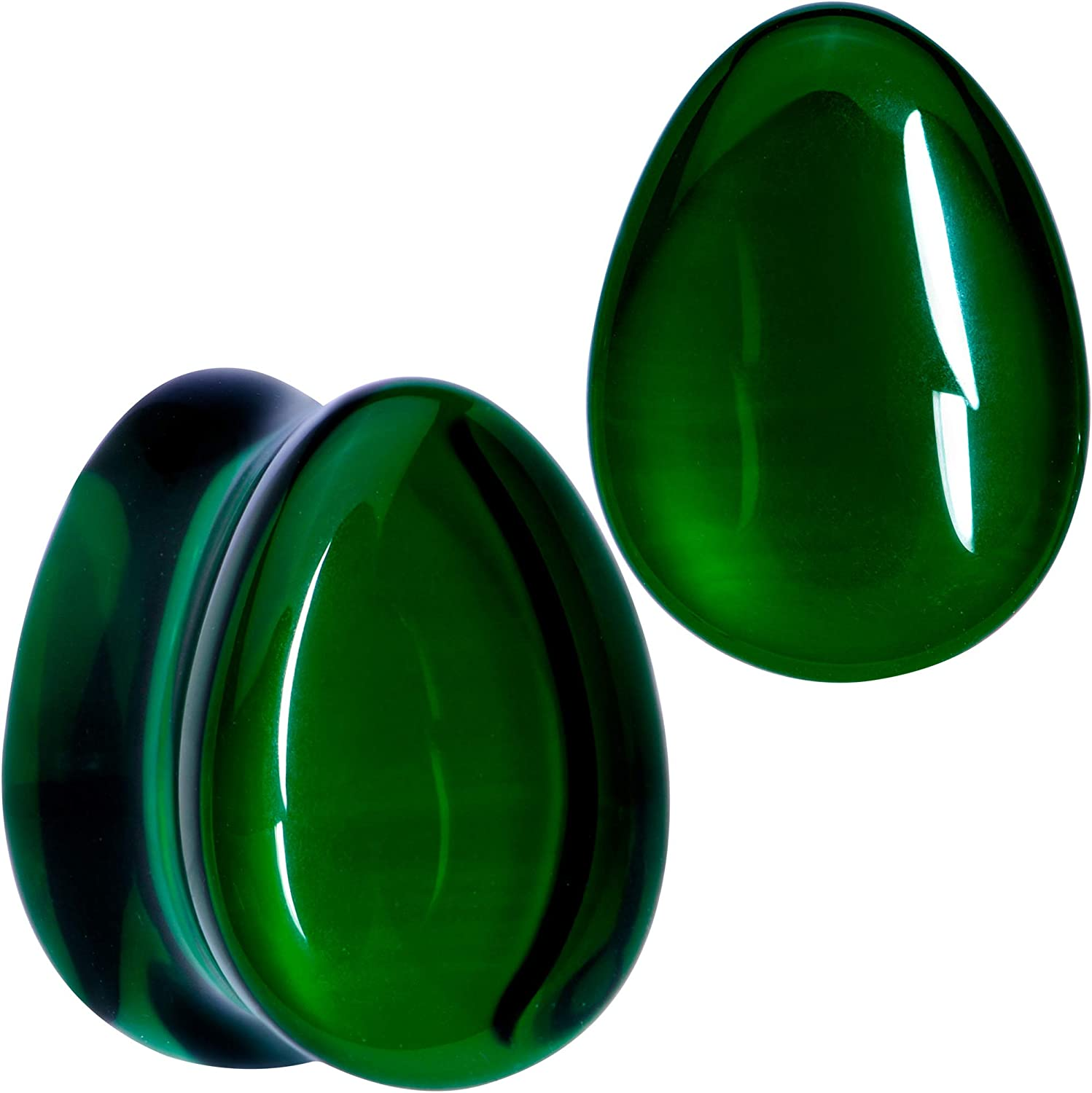 Body Candy Womens 2PC Solid Green Plugs Selling and selling Glass Do Saddle Teardrop Ranking TOP2