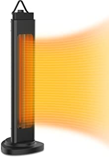 Electric Infrared Tower Heater, Oscillating Patio Heater with Tip-Over Shut Off Protection,Quiet and Fast Heating,1500W, E...