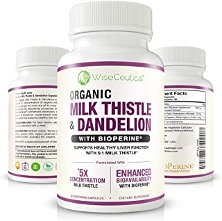 Max Absorption Organic Milk Thistle (Strongest 5:1 Concentrated Extract) & Organic Dandelion Root with BioPerine   Hangover Prevention & Relief - Liver Support and Alcohol Detox. 60 Veggie Capsules.