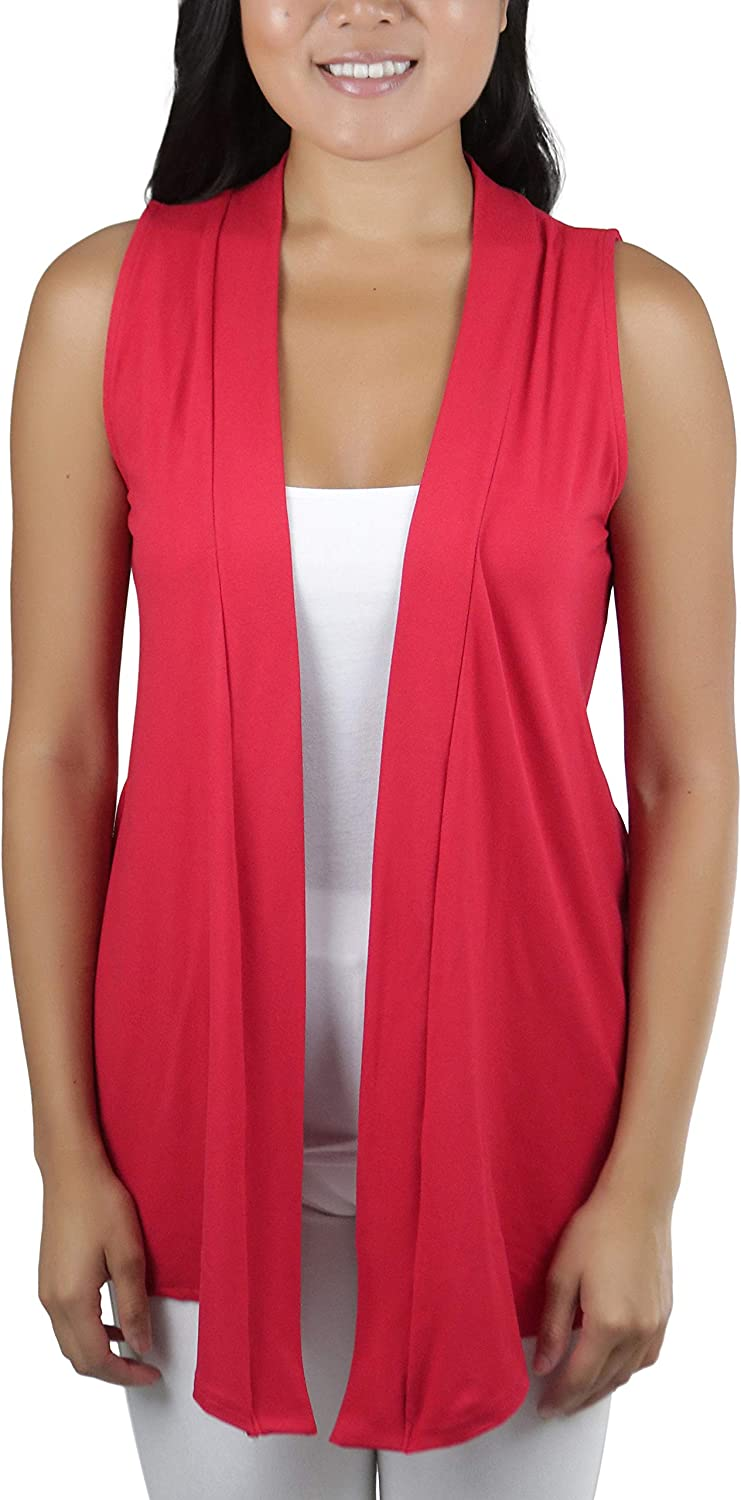 ToBeInStyle Women's Elegantly Easy Sleeveless Open Front Layering Airy Cardigan