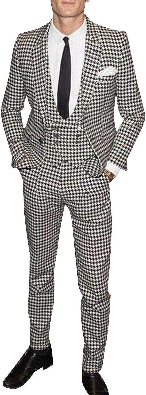 Frank Men's White&Black Grid Plaid Slim Fit Tuxedo Prom Wedding Groom Suits Blazers Jacket
