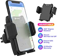Cell Phone Holder for Car, Universal Car Air Vent Mount with Adjustable Compatible with iPhone 11 Pro Max XS XS Max XR X 8 8+ 7 7+ SE 6s 6+ 6 5s Samsung Galaxy S10 S9 S8 S7 and More (Black)