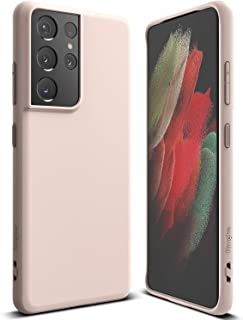 Ringke Air-S Compatible with Galaxy S21 Ultra Phone Case 5G, Matte Satin Textured Soft Feel TPU Cover - Pink Sand