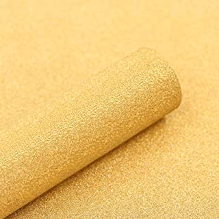 """Abyssaly 17.7"""" X 9.8' Glitter Wallpaper Decorative Self-Adhesive Waterproof Removable Peel and Stick Kitchen Counter Paper Yellow/Gold Vinyl Film Wallpaper Shelf Liner"""