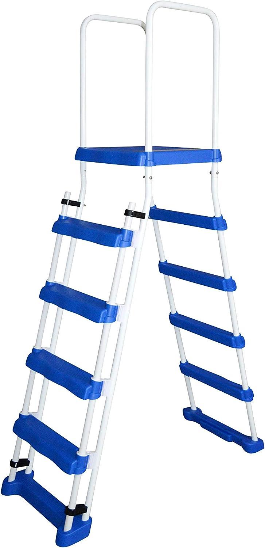 SPIRATO Escalera de seguridad con plataforma para piscinas de hasta 1,22 m de altura.