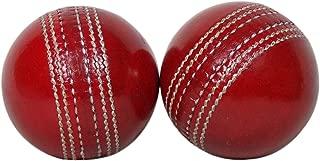 KSZ TRADERS Cricket Leather Balls (Set of 2) A Grade Handstitched RED