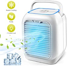 Personal Space Air Conditioner, Mini Portable Desktop Fan Personal Misting Table Fan Small Evaporative Air Cooler Circulator Humidifier for Office, Dorm, Room, Outdoor