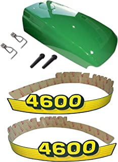 New Kumar Bros USA Upper Hood & Fuel Door with Fuel Door Mounting Hardware and LH/RH Decal Set Fits John Deere 4600