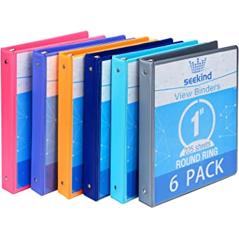 "1 Inch 3 Ring Binders,SEEKIND View Binders,Holds Up to 8.5""11"" Paper,Customizable Clear Cover,for Home,Office, and School Supply,6 Pack"