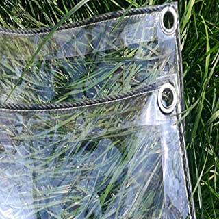 @WX&QIANG* 500g/㎡ Clear Tarps with Metal Grommets, Waterproof Transparent Tarpaulin for Garden Cargo or Potted Plant Cover...