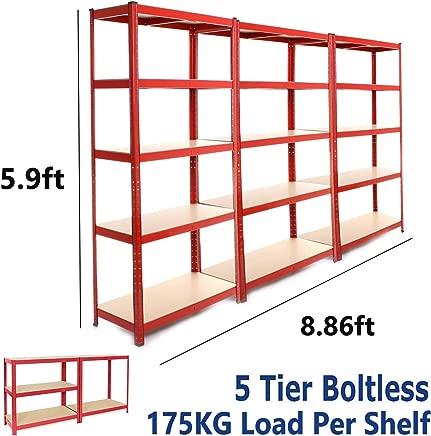 dicn 180x90x40cm  Red Tier Shelving Rack 3-Unit  175kg Capacity Per Shelf  Boltless Freestanding Shelves for Garage Home Storage Shed Warehouse
