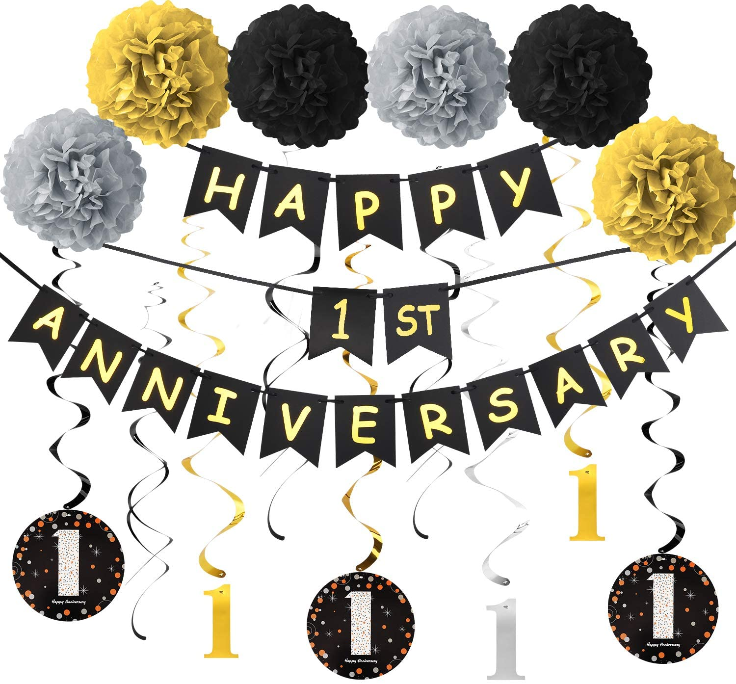 Yoaokiy 1 Year Anniversary Decorations Kit, 1st Wedding Anniversary Banner Party Decorations Suppilies - Including Gold Glitter Happy 1th Anniversary Banner / 9Pcs Sparkling 1 Hanging Swirl /6Pcs Poms