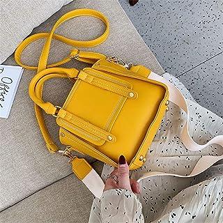 ZZZ Women Bag Fashion Chic Casual Portable Retro Hong Kong Style Single Shoulder Wide Shoulder Strap Slung Tide fashion (Color : Yellow)