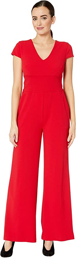 Cap Sleeve V-Neck Crepe Jumpsuit