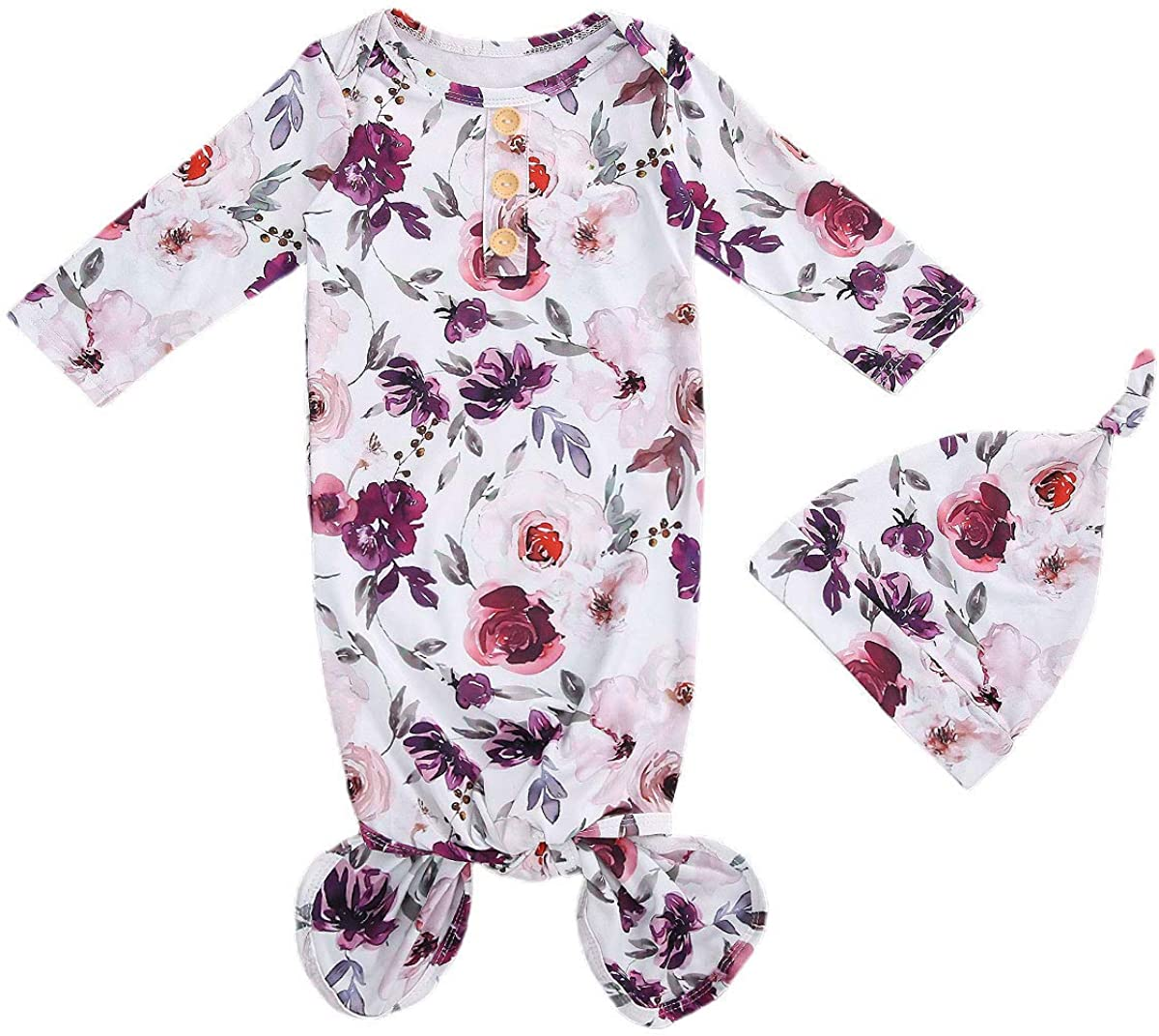 Newborn Baby Boy specialty shop Indianapolis Mall Girl Nightgown Set B Sleeve Infants Long Floral